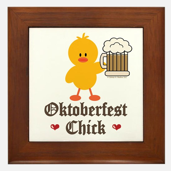 Oktoberfest Chick Framed Tile