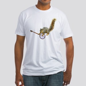 Squirrel with Banjo Fitted T-Shirt