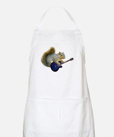 Squirrel with Blue Guitar BBQ Apron