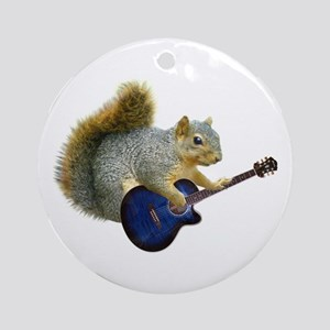 Squirrel with Blue Guitar Ornament (Round)