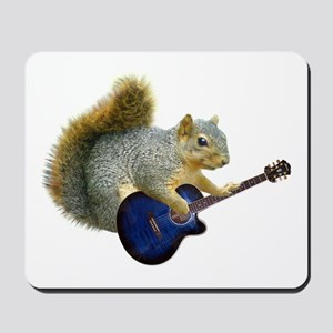 Squirrel with Blue Guitar Mousepad