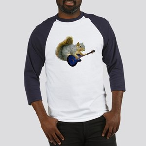 Squirrel with Blue Guitar Baseball Jersey