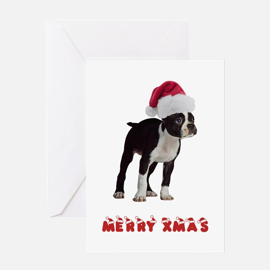 Boston Terrier Christmas Greeting Card