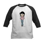 Tina in Blue Jeans Kids Baseball Jersey