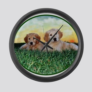 Two Golden Puppies Large Wall Clock