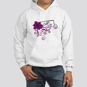 Trucker's Wife Purple Flower Hooded Sweatshirt