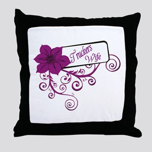 Trucker's Wife Purple Flower Throw Pillow