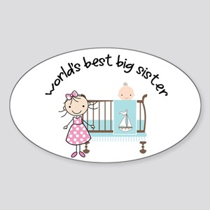 big sister little sister matching Oval Sticker