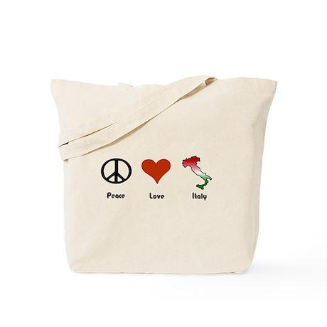 Peace, Love, Italy Tote Bag