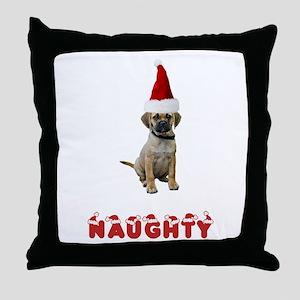 Naughty Puggle Throw Pillow