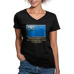 Nevada Proud Citizen Women's V-Neck Dark T-Shirt