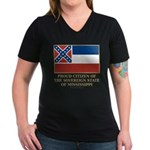 Mississippi Proud Citizen Women's V-Neck Dark T-Sh