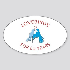60th Lovebirds Oval Sticker