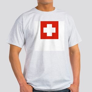 Swiss Flag 4 Ash Grey T-Shirt