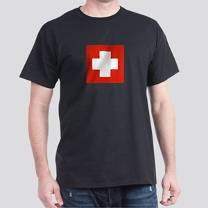 Swiss Flag 4 Black T-Shirt