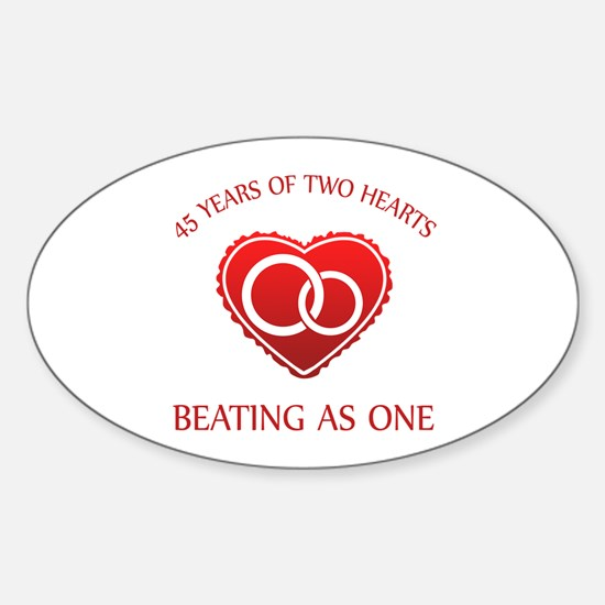 45th Heart Rings Oval Decal