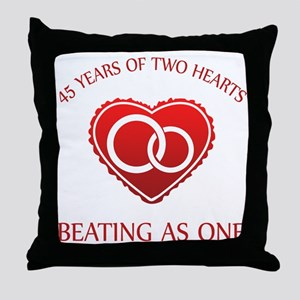 45th Heart Rings Throw Pillow