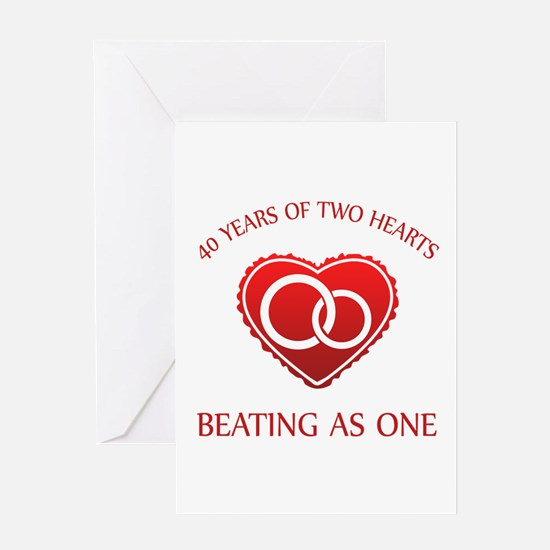 40th Heart Rings Greeting Card