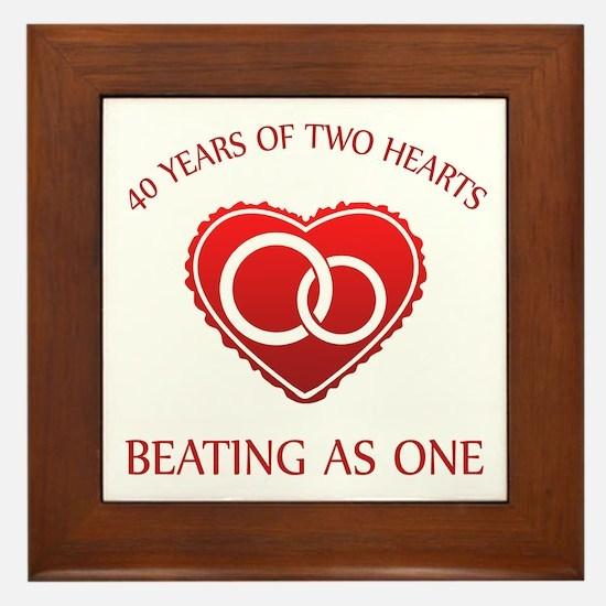 40th Heart Rings Framed Tile