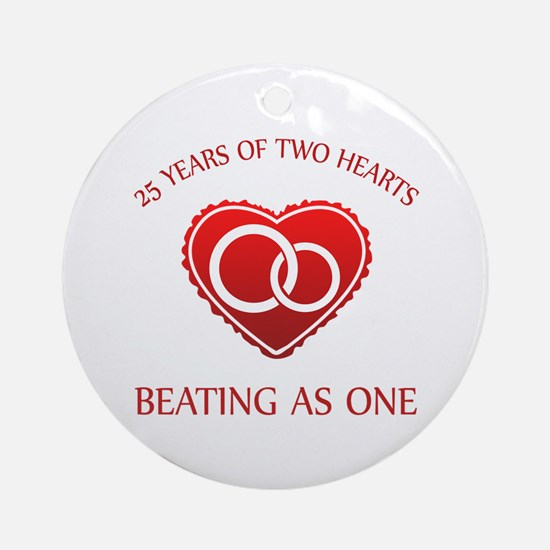 25th Heart Rings Ornament (Round)