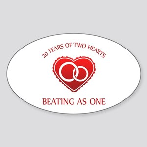 20th Heart Rings Oval Sticker