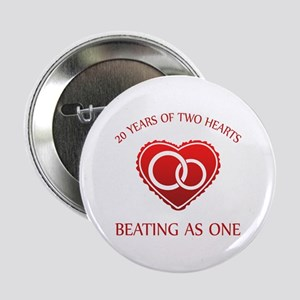 """20th Heart Rings 2.25"""" Button"""