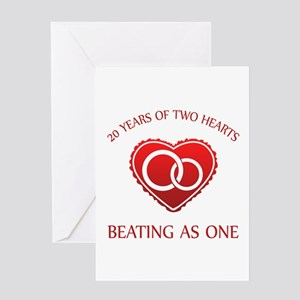 20th Heart Rings Greeting Card
