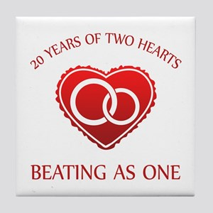 20th Heart Rings Tile Coaster
