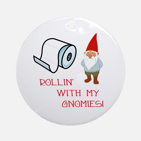 Rollin' With My Gnomies Ornament (Round)