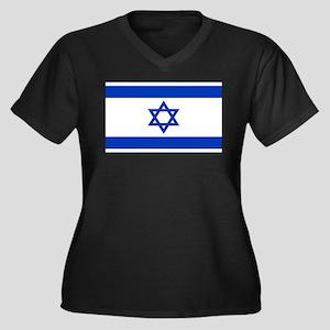 Israeli Flag Women's Plus Size V-Neck Dark T-Shirt