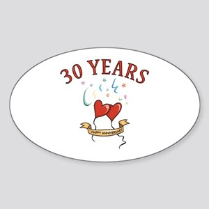 30th Festive Hearts Oval Sticker