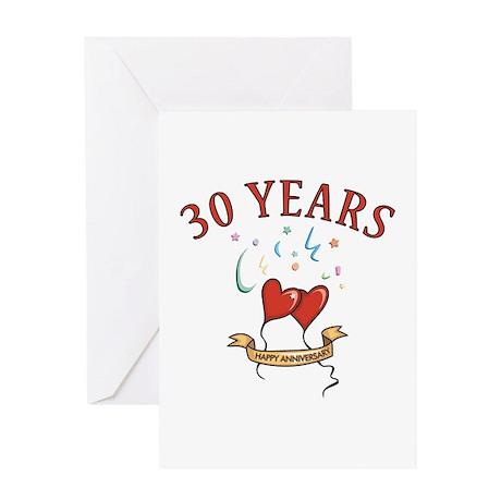 30th Festive Hearts Greeting Card
