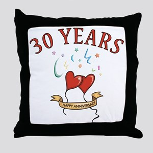 30th Festive Hearts Throw Pillow