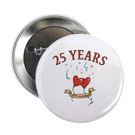 """25th Festive Hearts 2.25"""" Button (10 pack)"""