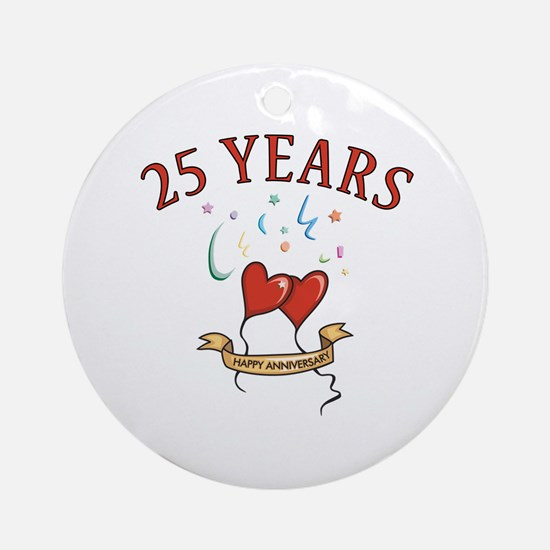25th Festive Hearts Ornament (Round)