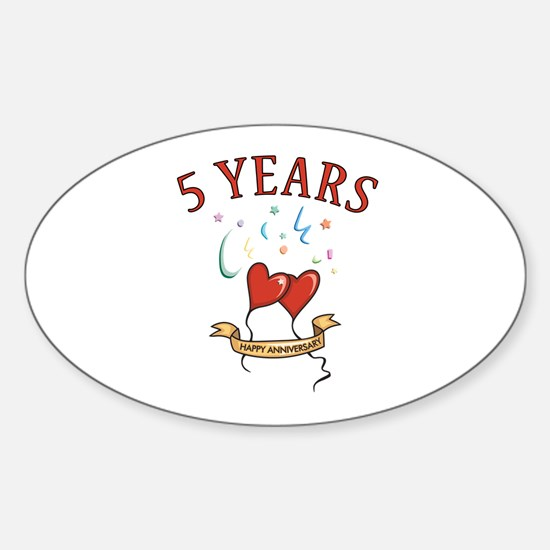 5th Festive Hearts Oval Decal