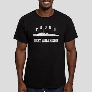 Proud Navy Girlfriend Men's Fitted T-Shirt (dark)