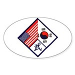 Dual Flag & Moo Oval Sticker