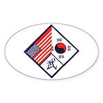 Dual Flag & Moo Oval Sticker