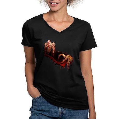 Zombie Women's V-Neck Dark T-Shirt