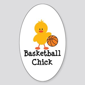 Basketball Chick Oval Sticker
