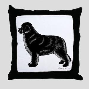 Black Newfoundland Dog Throw Pillow