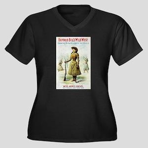 Annie Oakley Women's Plus Size V-Neck Dark T-Shirt