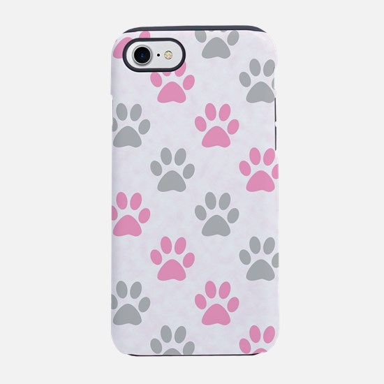 Pink and grey puppy paws iPhone 7 Tough Case