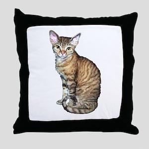 Devon Rex Cat Throw Pillow