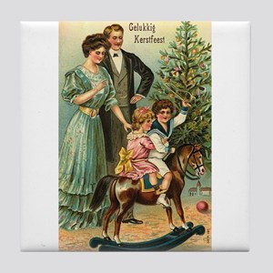 Gelukkig Kerstfeest Vintage Christmas Tile Coaster