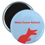 Dinosaur Make Cancer Extinct Magnet (pink/blue)