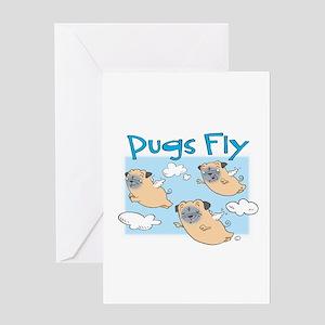 PUGS FLY Greeting Card