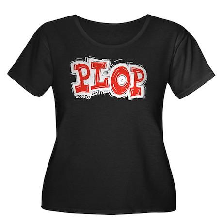 Plop Women's Plus Size Scoop Neck Dark T-Shirt