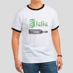 Italian Wine Bottle Vintage Ringer T